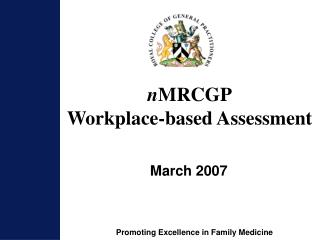 n MRCGP Workplace-based Assessment