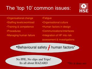 The 'top 10' common issues: