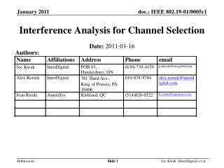 Interference Analysis for Channel Selection