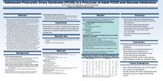 Adolescent Polycystic Ovary Syndrome (PCOS) is a Precursor of Adult PCOS and Glucose Intolerance