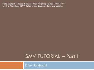 SMV TUTORIAL � Part I