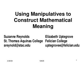 Using Manipulatives to Construct Mathematical Meaning