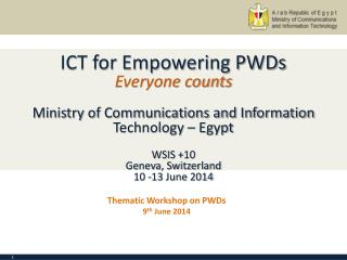Thematic Workshop on PWDs 9 th  June 2014