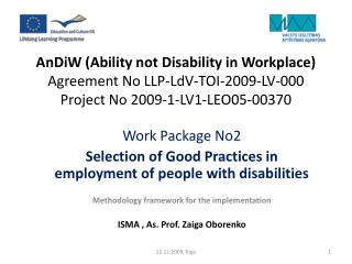 W ork  P ackage No2 S election of  G ood  P ractices in employment of people with disabilities