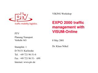 EXPO 2000 traffic management with VISUM-Online