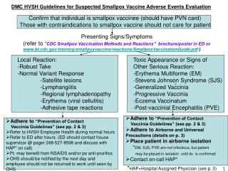 DMC HVSH Guidelines for Suspected Smallpox Vaccine Adverse Events Evaluation