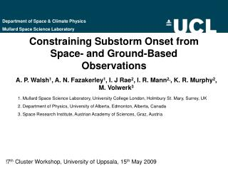 Constraining Substorm Onset from Space- and Ground-Based Observations