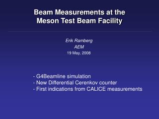 Beam Measurements at the  Meson Test Beam Facility