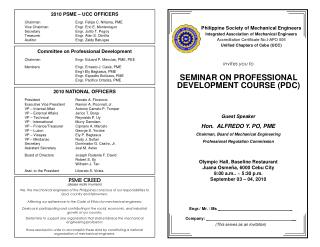 invites you to SEMINAR ON PROFESSIONAL DEVELOPMENT COURSE (PDC)