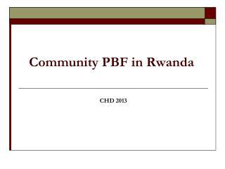 Community PBF in R wanda