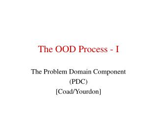 The OOD Process - I