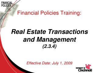 Real Estate Transactions and Management Policy (2.3.4)