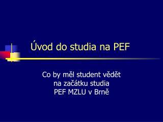 Úvod do studia na PEF
