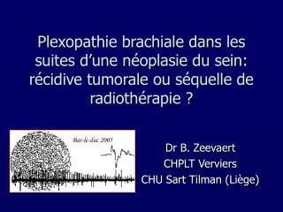 Dr B. Zeevaert CHPLT Verviers CHU Sart Tilman (Liège)