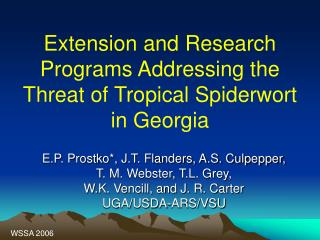 Extension and Research  Programs Addressing the Threat of Tropical Spiderwort in Georgia