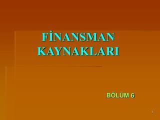 F?NANSMAN KAYNAKLARI