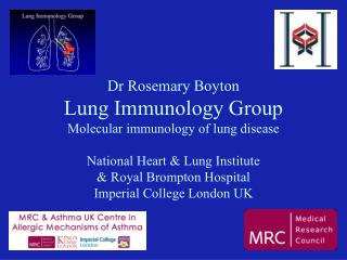 Dr Rosemary Boyton Lung Immunology Group Molecular immunology of lung disease  National Heart  Lung Institute  Royal Bro