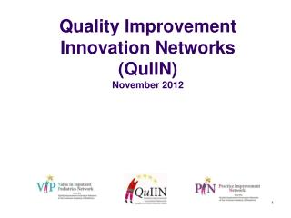 Quality Improvement Innovation Networks  (QuIIN)  November 2012