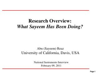 Research Overview: What Sayeem Has Been Doing?