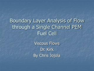 Boundary Layer Analysis of Flow through a Single Channel PEM Fuel Cell