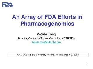 An Array of FDA Efforts in Pharmacogenomics