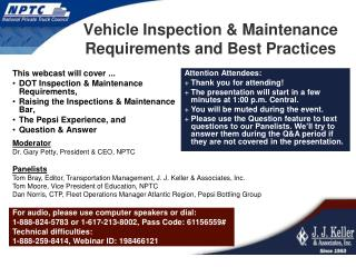 Vehicle Inspection & Maintenance Requirements and Best Practices