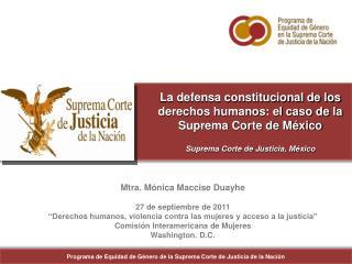 Programa de Equidad de G�nero de la Suprema Corte de Justicia de la Naci�n