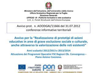 Avviso prot.  n. AOODGAI/11666 del 31.07.2012 conferenze informative territoriali