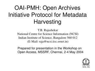 OAI-PMH: Open Archives Initiative Protocol for Metadata Harvesting