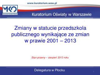 Zmiany w statucie przedszkola  publicznego wynikające ze zmian  w prawie 2001 – 2013