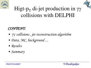 Higt-p T  di-jet production in  gg  collisions with DELPHI