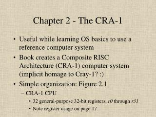 Chapter 2 - The CRA-1