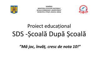 Proiect educațional SDS - Școală După Școală