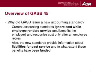 Overview of GASB 45