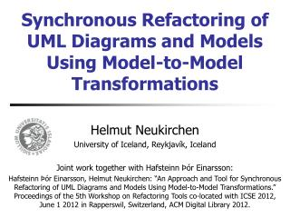 Synchronous Refactoring of UML Diagrams and Models Using Model-to-Model Transformations