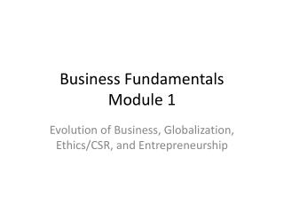 Business Fundamentals Module 1