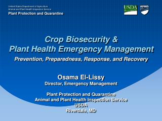 Crop Biosecurity &  Plant Health Emergency Management