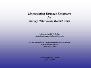 A. Demnati and J. N. K. Rao Statistics Canada / Carleton University