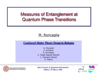 Measures of Entanglement at  Quantum Phase Transitions