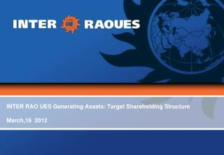 INTER RAO UES Generating Assets: Target Shareholding Structure March,16   2012