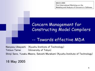 Concern Management for Constructing Model Compilers -- Towards effective MDA