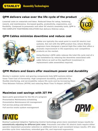 QPM Cables minimize downtime and reduce cost