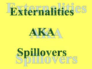 Externalities AKA Spillovers