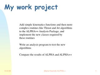 My work project