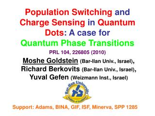 Population Switching  and  Charge Sensing  in  Quantum Dots : A case for Quantum Phase Transitions