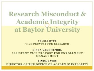 Research Misconduct & Academic Integrity at Baylor University