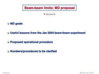 Beam-beam limits: MD proposal