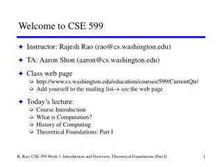Welcome to CSE 599