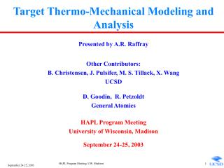 Target Thermo-Mechanical Modeling and Analysis