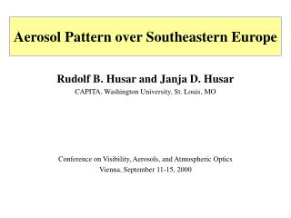 Aerosol Pattern over Southeastern Europe